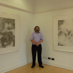 Two graphite pencil on paper drawings 150 x 150 cm - installed at Ards Arts Centre 2013